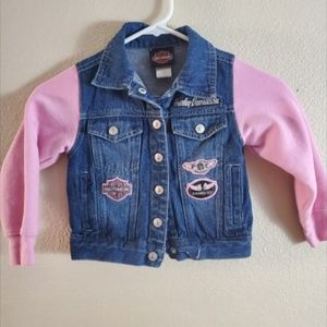 Harley Davidson Kids Girl Size 5 Denim Pink Jacket